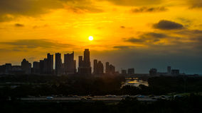 Austin linii horyzontu pejzażu miejskiego wschód słońca Nad śródmieściem zdjęcia royalty free