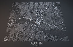 Austin map, satellite view, Texas, United States. Austin map on a black background, satellite view, Texas, United States Royalty Free Stock Photo