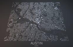 Austin map, satellite view, Texas, United States Royalty Free Stock Photo