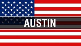 Austin miasto na usa flagi tle, 3D rendering Zlani stany Ameryka zaznaczają falowanie w wiatrze Dumny flagi amerykańskiej falowan royalty ilustracja