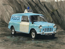 Austin Mini Van Police Royalty Free Stock Images