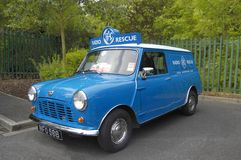 Austin Mini Van, RAC. A restored Austin Mini van in the livery of a Royal Automobile Club roadside rescue vehicle from the 1960's Stock Photo