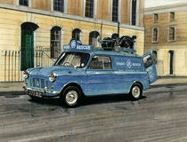 Austin Mini Van RAC Królewski samochodu skojarzenie Obraz Royalty Free