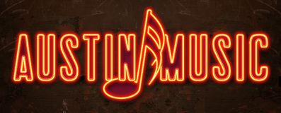 Austin Music Festival Neon Sign. Austin Music City Limits Neon Sign with Note Red Yellow Electric Sound Stock Photos
