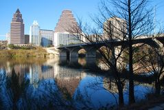 Austin Nature. View of city of Austin Texas downtown district through the nature of the Colorado River Royalty Free Stock Photo