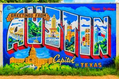 Free Austin Postcard Mural Stock Photos - 80513003