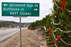 Austin roadside Christmas trees. Some of the roadside or guerilla christmas trees along the 360 Capital of Texas Highway in Austin.  The spontaneous decoration Stock Images