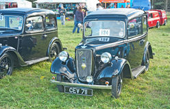 Austin seven saloon. With sliding sunroof on show at Roseisle Vintage car Rally held on 22nd September 2013 Stock Image
