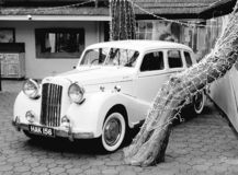 1950 Austin A125 Sheerline. Beautiful classic cars black and white photography stock photos