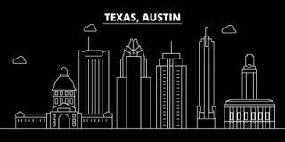 Austin-silhouethorizon De V.S. - De vectorstad van Austin, Amerikaanse lineaire architectuur, gebouwen Austin-reisillustratie royalty-vrije illustratie