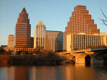 Austin Skyline. View of Austin, Texas' downtown skyline at sunset, seen from the beautiful Town Lake stock images