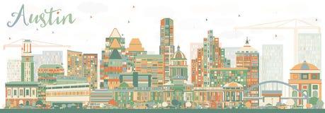 Austin Skyline abstracto con los edificios del color ilustración del vector