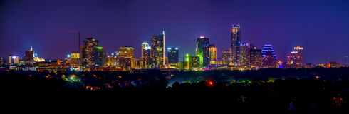 Austin Skyline Cityscape Night Long-Panoramische Blootstelling stock afbeeldingen