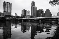 Austin Skyline Cityscape Reflection monocromatico Fotografia Stock Libera da Diritti