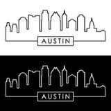 Austin Skyline estilo linear ilustración del vector