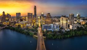 Austin Skyline in the evening. And bluehour royalty free stock photo