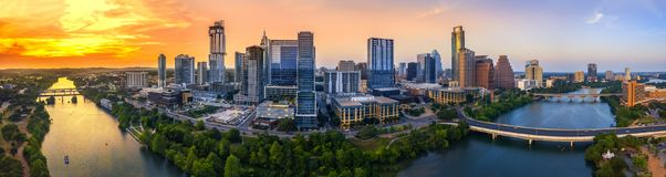 Austin Skyline in the evening. And bluehour stock photography