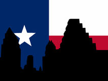 Austin Skyline with flag Royalty Free Stock Photography