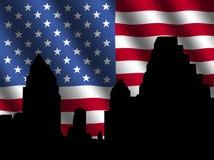 Austin Skyline with flag. Austin Skyline with rippled American flag illustration Stock Photography