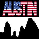Austin Skyline with flag text Stock Image