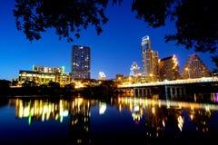 Austin Skyline nachts Stockbilder