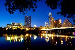 Austin Skyline at Night Stock Images