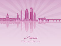 Austin skyline in purple radiant orchid Royalty Free Stock Image