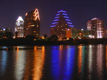 Austin skyline reflection. Austin skyline at night Stock Photos