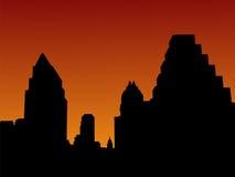 austin skyline słońca ilustracji