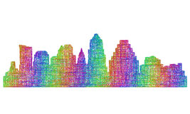 Austin skyline silhouette - multicolor line art Stock Photos