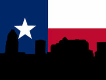 Austin Skyline with Texan flag Stock Photos