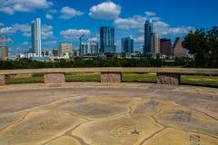 Austin Skyline tranquillo Austin Map Circle Floor del centro Fotografia Stock Libera da Diritti