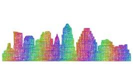 Austin-Skylineschattenbild - Mehrfarbenlinie Kunst Stockfotos