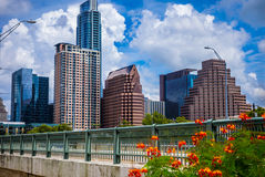Austin texas Afternoon Perfection Summer time Bliss Downtown Skyline Cityscape. From the iconic view of Auditorium Shores Park looking at the 1st Street Bridge Stock Photo