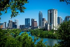 Austin Texas Blue Sky Cityscape Skyline View on top of Hill Over Looking the Lake Royalty Free Stock Photo