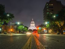 Austin Texas céntrico en la fotografía de la noche fotos de archivo libres de regalías