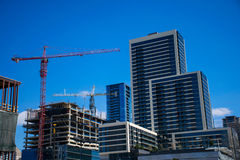 Austin Texas Capital City Star Construction Crane Growing Condos en Horizonkranen de bouw stock foto's