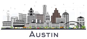 Austin Texas City Skyline met Gray Buildings Isolated op Wit vector illustratie
