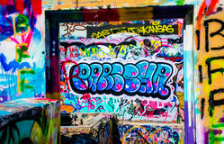 Austin Texas Cityscape Graffiti en Austin Random Graffiti Hope Outdoor Art Gallery imagen de archivo libre de regalías