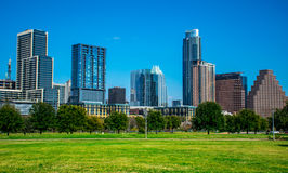 Austin Texas Cityscape Willie Wells Field At Butler Park Auditorium Shores Park Stock Photo
