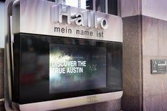 Austin Texas Convention Center Welcome Sign Tilltr?de teknologi arkivbild