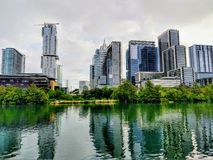 Austin Texas do centro em um dia nebuloso imagens de stock