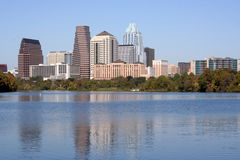 Austin, Texas : Downtown. A nice clear shot of downtown Austin, Texas from across Town Lake Stock Photos