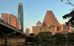 Downtown Skyline and Congress Avenue Bridge in Austin stock image