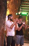 Street musicians performing in Austin stock images