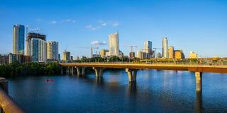 Austin Texas Growing Skyline Bridges Cranes construction progress Stock Images