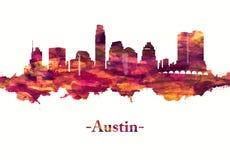 Austin Texas horisont i rött vektor illustrationer
