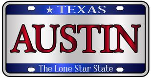Austin Texas License Plate illustration stock