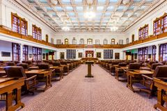 AUSTIN, TEXAS - MARCH 28, 2018 - House of Representatives Chamber in Texas State Capitol in the Capital, floor view stock photos