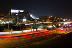 Austin Texas at night. I35 Traffic lights in Austin, Texas Royalty Free Stock Photography